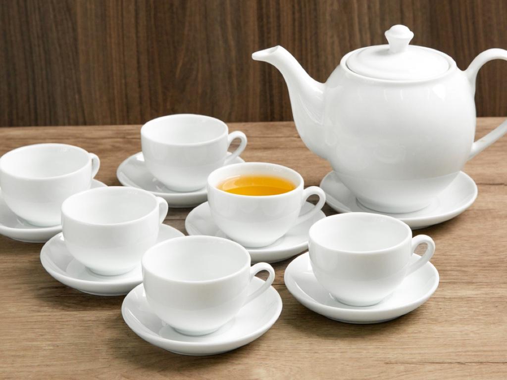 Bộ trà tròn trắng Sứ sương lớn 0.9 L/SSA019 1