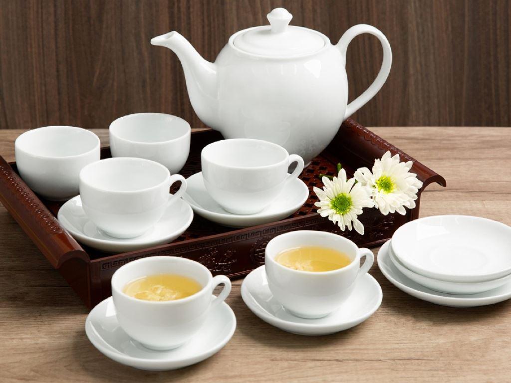 Bộ trà tròn trắng Sứ sương lớn 0.9 L/SSA019 2