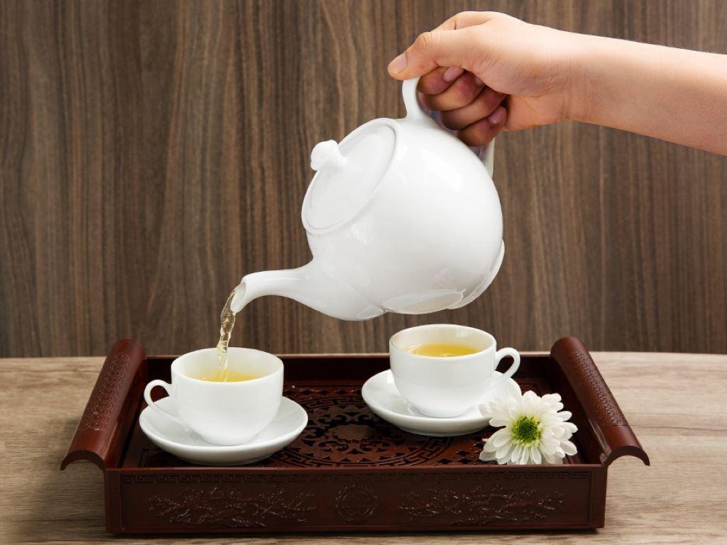 Bộ trà tròn trắng Sứ sương lớn 0.9 L/SSA019 3