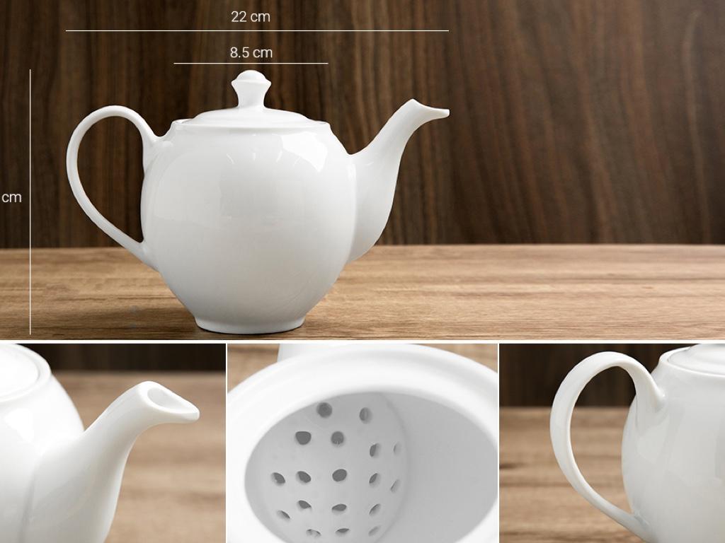 Bộ trà tròn trắng Sứ sương lớn 0.9 L/SSA019 4