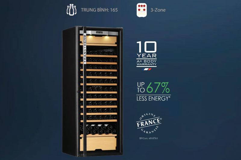 Loại tủ 3 vùng nhiệt độ với sức chứa trung bình 165 chai rượu (Bordeaux 750 ml)