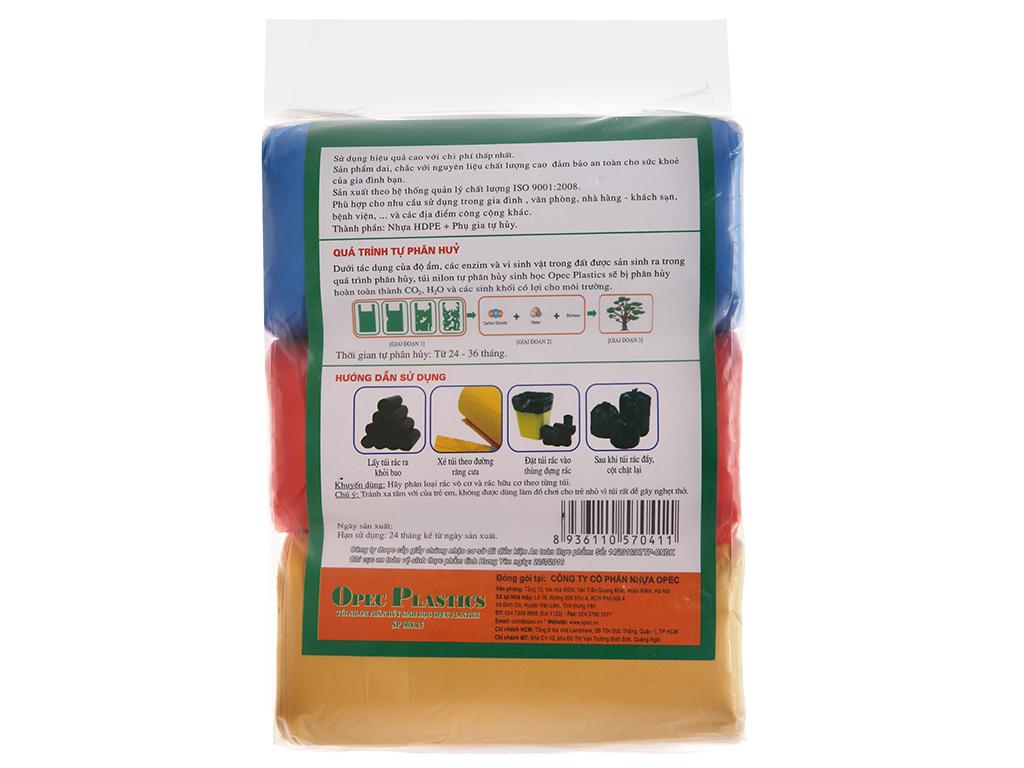 3 cuộn túi rác màu tự huỷ sinh học Opec 55x65cm 1kg 2