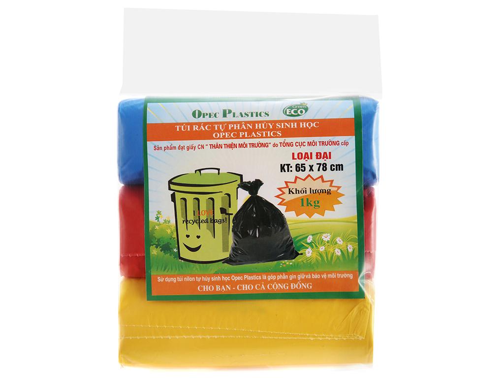 Lốc 3 cuộn túi rác 3 màu tự huỷ sinh học Opec 65x78cm 1