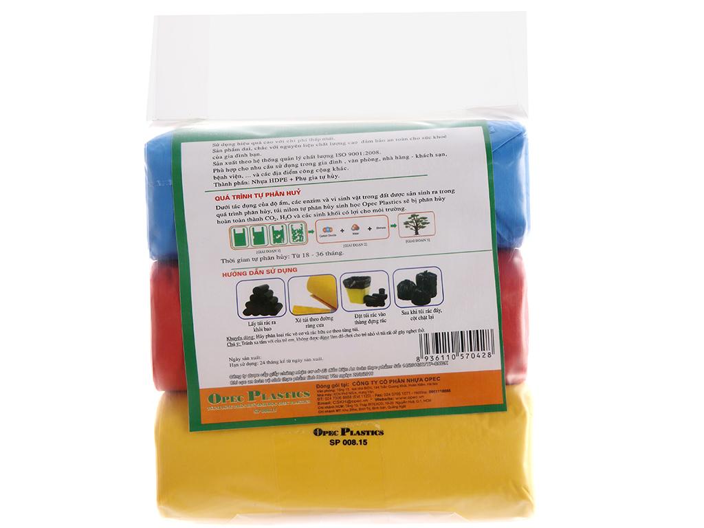 Lốc 3 cuộn túi rác 3 màu tự huỷ sinh học Opec 65x78cm 2