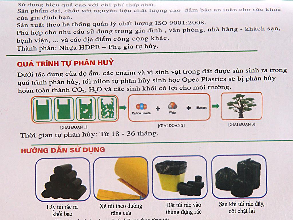 Lốc 3 cuộn túi rác 3 màu tự huỷ sinh học Opec 65x78cm 4