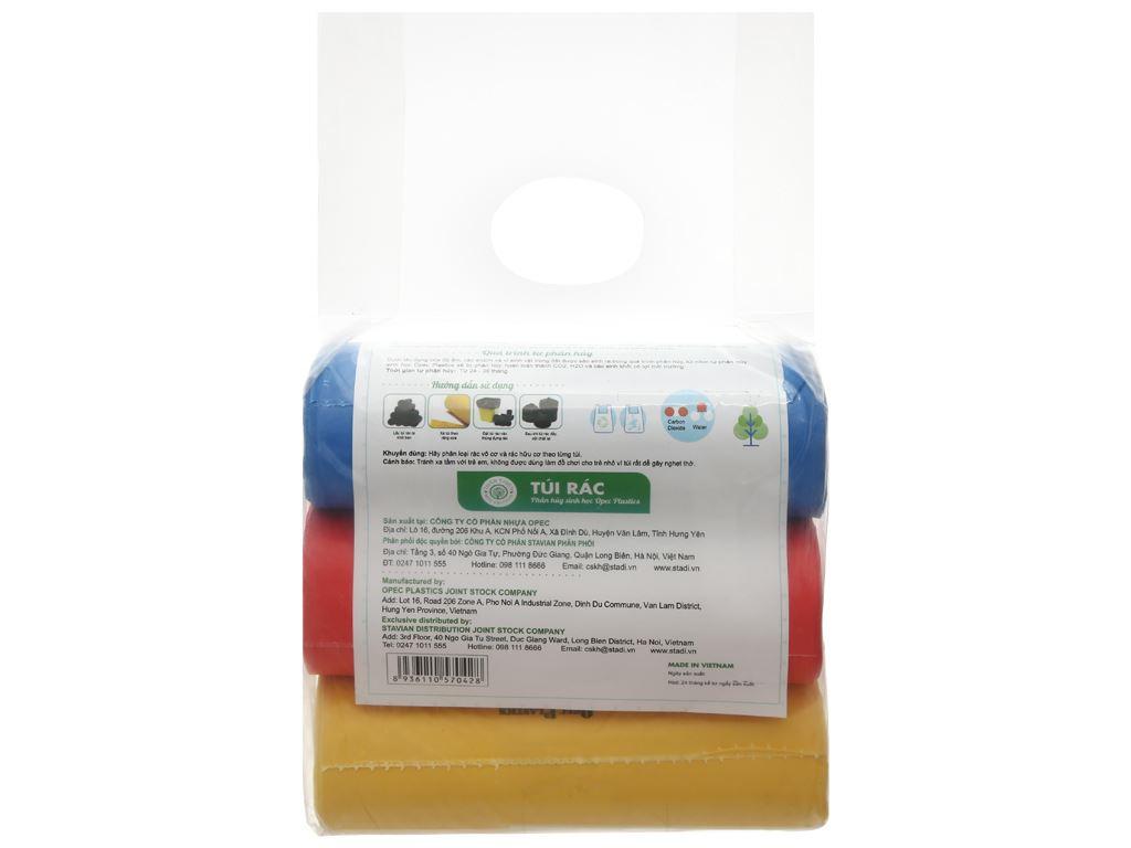 Lốc 3 cuộn túi rác màu tự huỷ sinh học Opec 65x78cm (1kg) 2