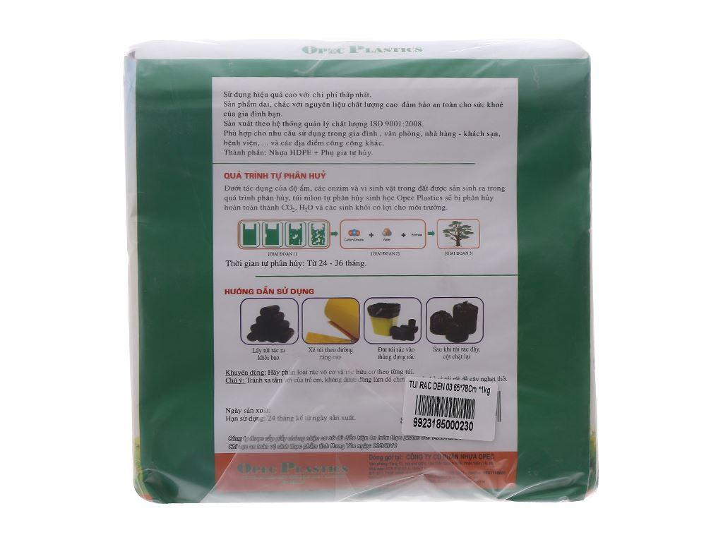 Lốc 3 cuộn túi rác đen tự huỷ Opec 65x78cm (1kg) 2