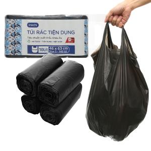 Lốc 4 cuộn túi rác đen quai xách Inochi 46x63cm