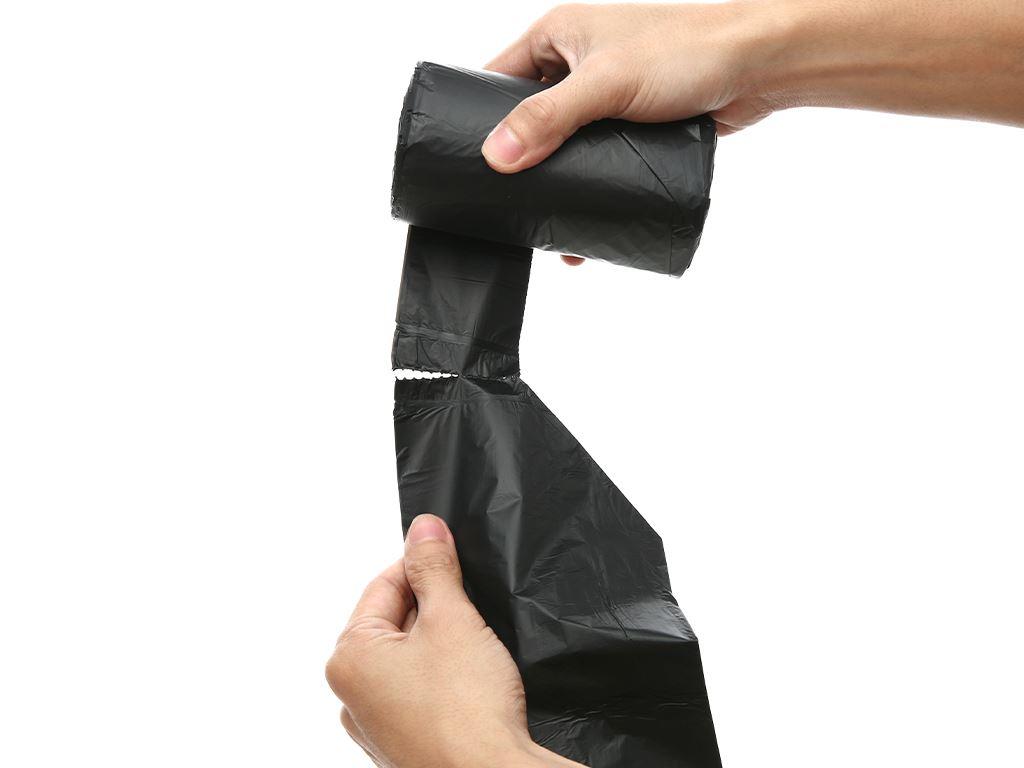 Lốc 4 cuộn túi rác đen quai xách Inochi 46x63cm 5