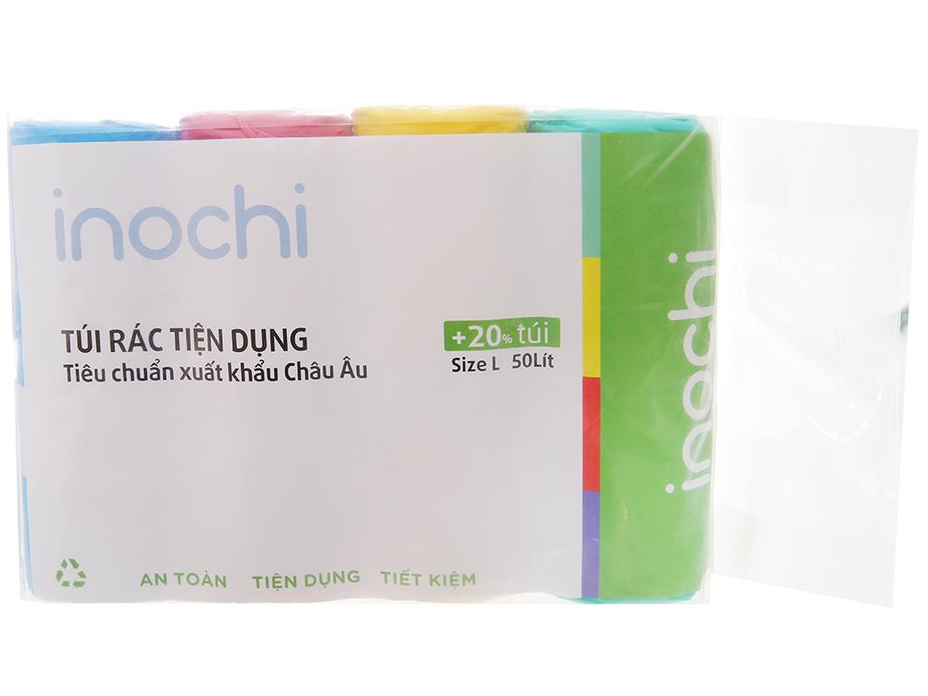 4 cuộn túi rác màu có quai Inochi 60x90cm (76 túi / 4 cuộn) 1