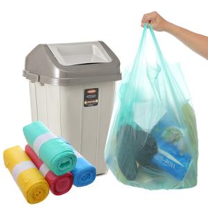 4 cuộn túi rác màu có quai Inochi 60x90cm (76 túi / 4 cuộn)