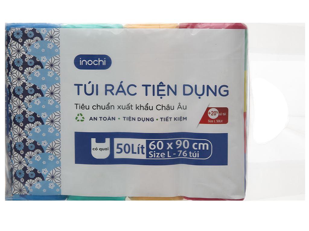 Lốc 4 cuộn túi rác màu quai xách Inochi 60x90cm 1