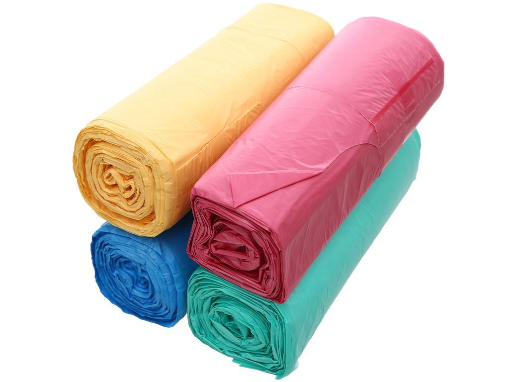 Lốc 4 cuộn túi rác màu quai xách Inochi 60x90cm 3
