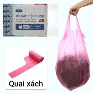 Lốc 4 cuộn túi rác màu quai xách Inochi 60x90cm