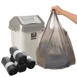 4 cuộn túi rác đen có quai Inochi 54x70cm size M cuộn 112 túi