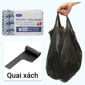 Lốc 4 cuộn túi rác đen quai xách Inochi 54x70cm
