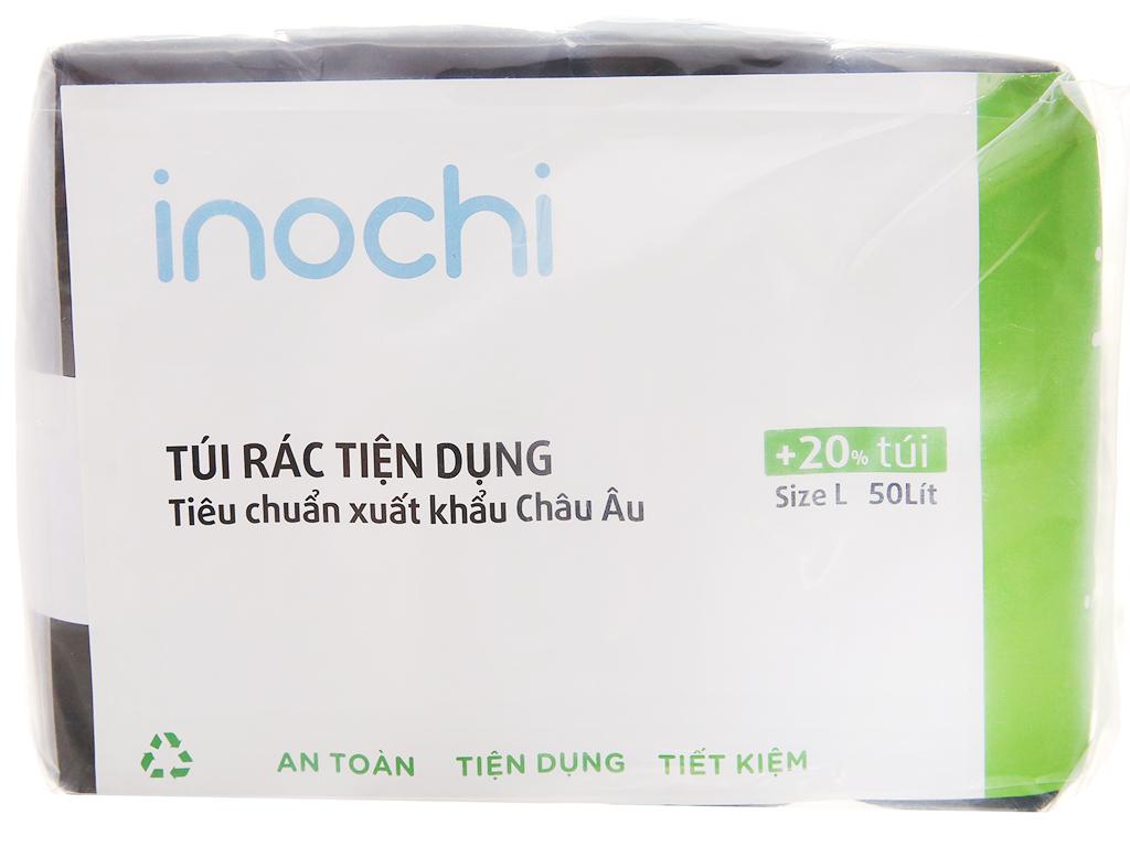 4 cuộn túi rác đen có quai Inochi 60x90cm size L (76 túi / 4 cuộn) 1