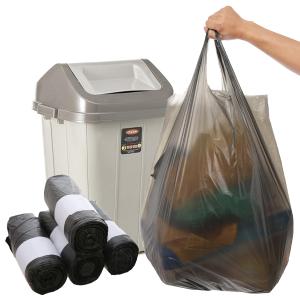 4 cuộn túi rác đen có quai Inochi 60x90cm size L (76 túi / 4 cuộn)
