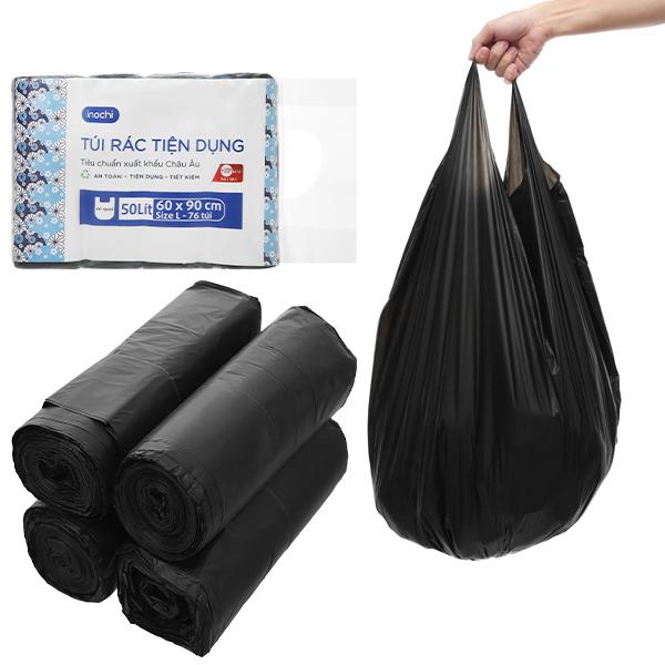 Lốc 4 cuộn túi rác đen quai xách Inochi 60x90cm 1
