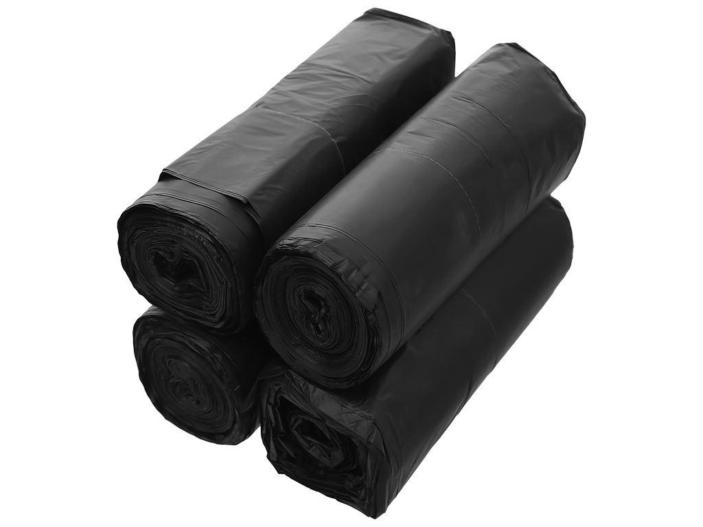 Lốc 4 cuộn túi rác đen quai xách Inochi 60x90cm 4