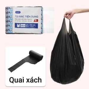 Lốc 4 cuộn túi rác đen quai xách Inochi 60x90cm