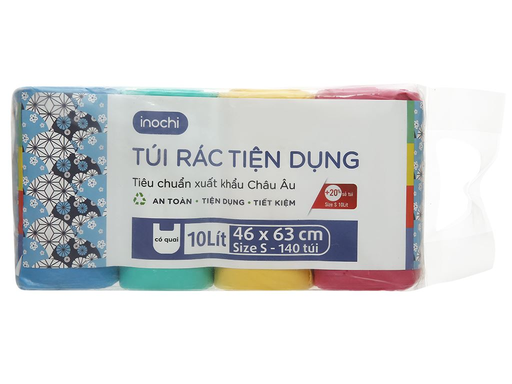 Lốc 4 cuộn túi rác màu quai xách Inochi 46x63cm 1