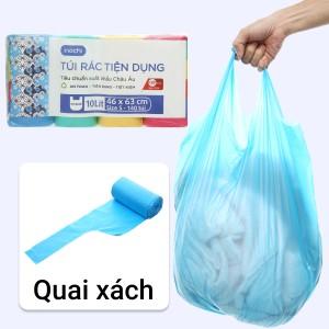Lốc 4 cuộn túi rác màu quai xách Inochi 46x63cm
