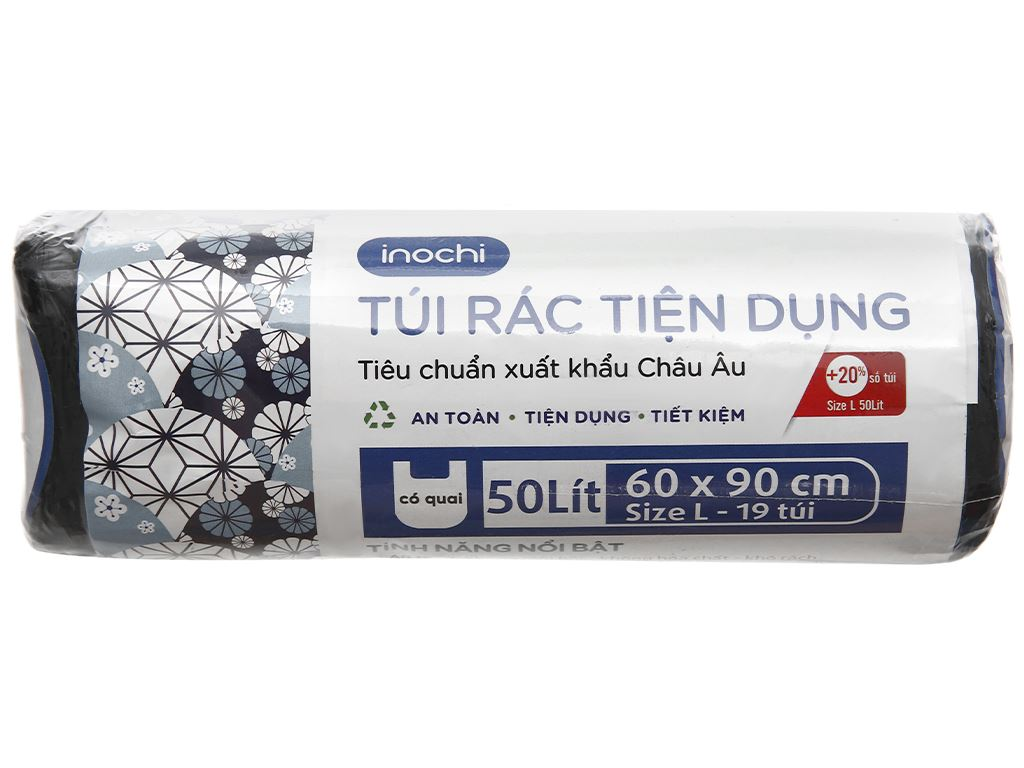 1 cuộn túi rác đen quai xách Inochi 60x90cm 1