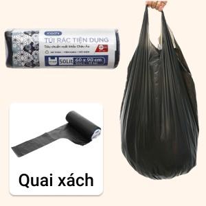 1 cuộn túi rác đen quai xách Inochi 60x90cm