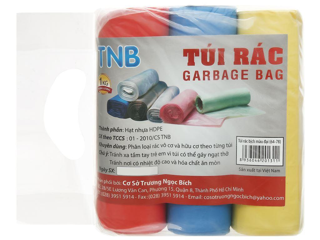 Lốc 3 cuộn túi rác màu Trương Ngọc Bích 64x78cm (1kg) 1