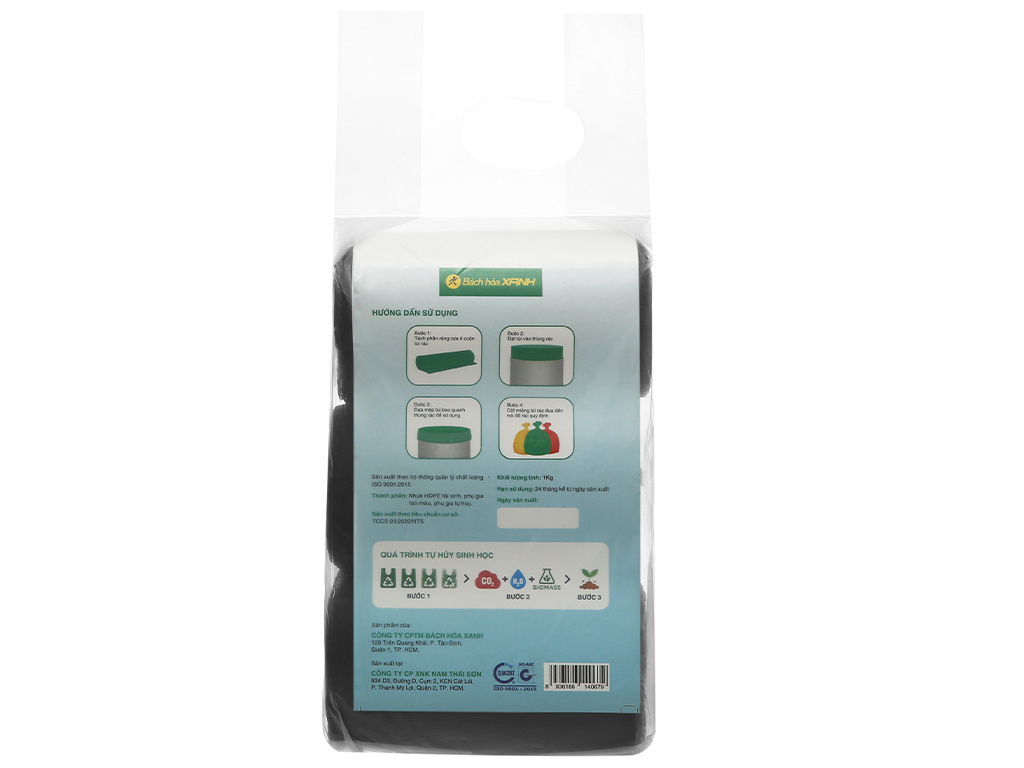 Lốc 3 cuộn túi rác đen tự huỷ sinh học Bách Hóa XANH 44x56cm (1kg) 2