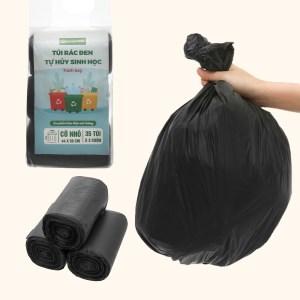 Lốc 3 cuộn túi rác đen tự huỷ sinh học Bách Hóa XANH 44x56cm (1kg)