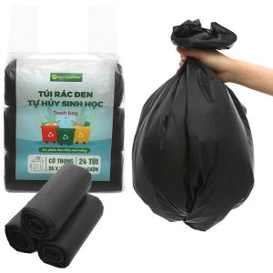 Lốc 3 cuộn túi rác đen tự huỷ sinh học Bách Hóa XANH 55x65cm (1kg)