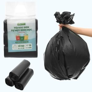 Lốc 3 cuộn túi rác đen tự huỷ sinh học Bách Hóa XANH 64x78cm (1kg)