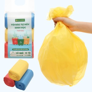 Lốc 3 cuộn túi rác nhiều màu tự huỷ sinh học Bách Hóa XANH 44x56cm (1kg)