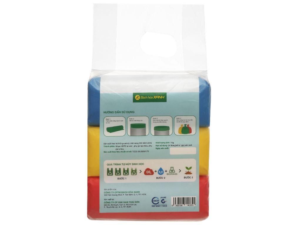 Lốc 3 cuộn túi rác nhiều màu tự huỷ sinh học Bách Hóa XANH 55x65cm (1kg) 2
