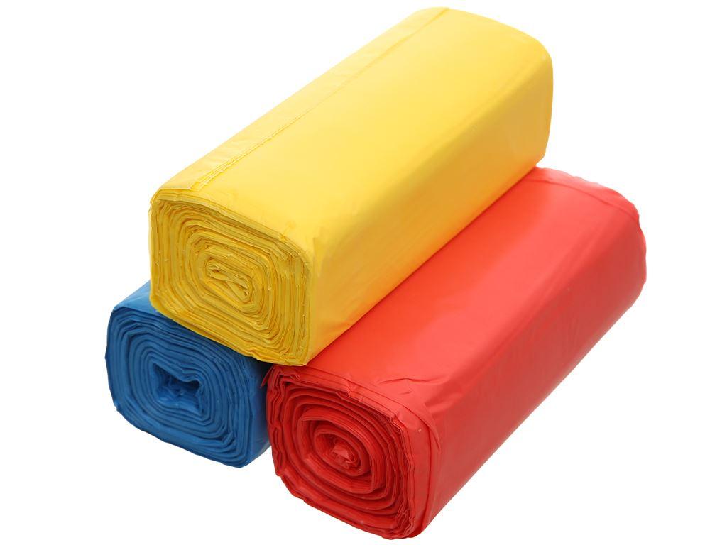 Lốc 3 cuộn túi rác nhiều màu tự huỷ sinh học Bách Hóa XANH 55x65cm (1kg) 3