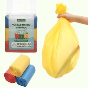Lốc 3 cuộn túi rác nhiều màu tự huỷ sinh học Bách Hóa XANH 55x65cm (1kg)