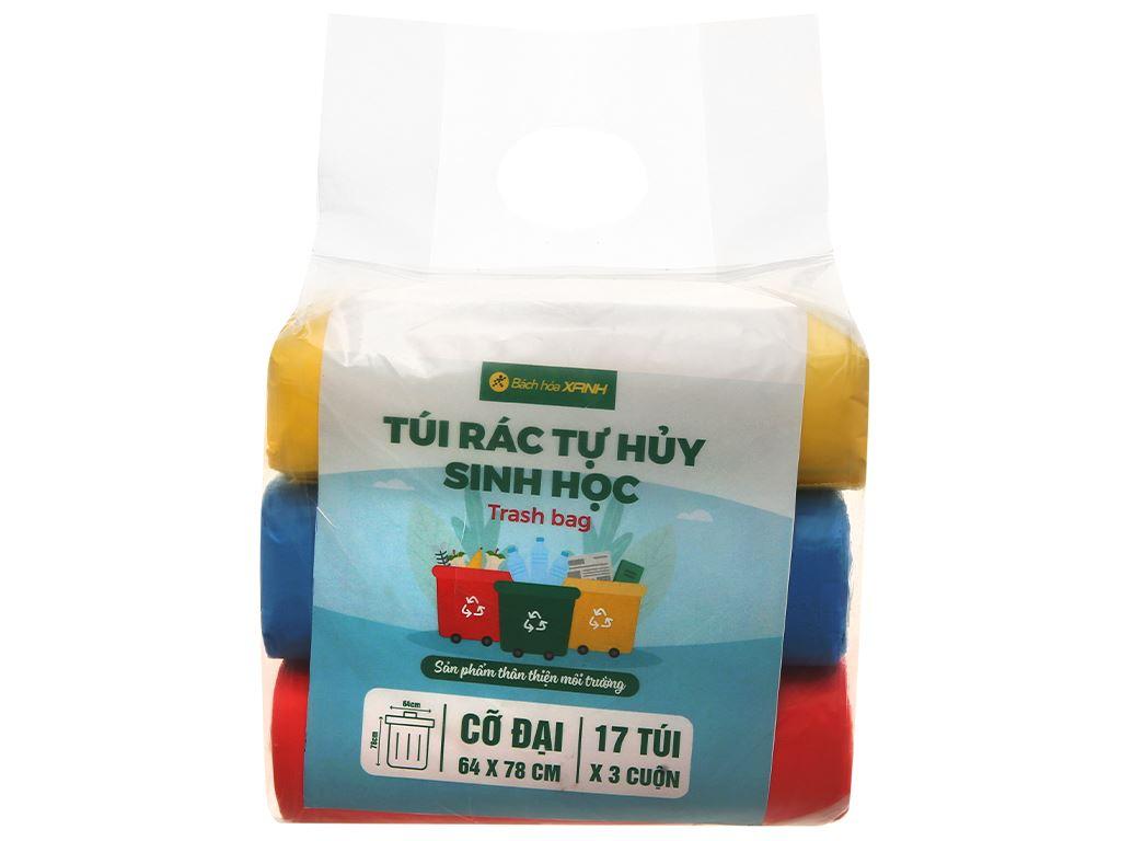 Lốc 3 cuộn túi rác nhiều màu tự huỷ sinh học Bách Hóa XANH 64x78cm (1kg) 1