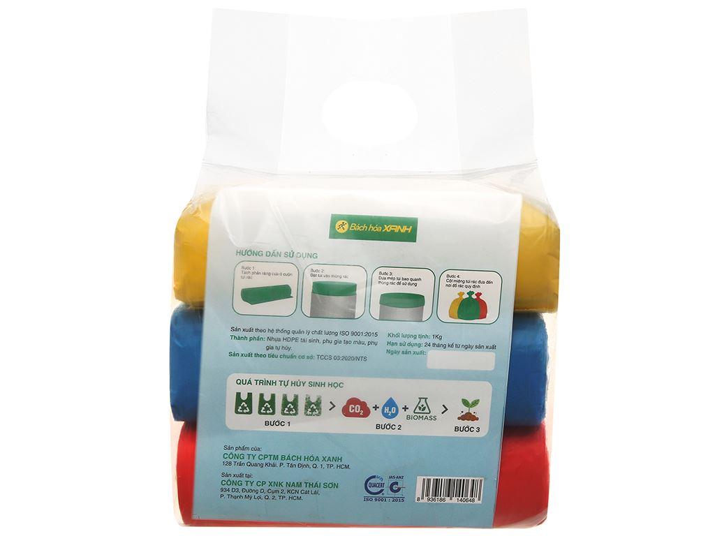 Lốc 3 cuộn túi rác nhiều màu tự huỷ sinh học Bách Hóa XANH 64x78cm (1kg) 2
