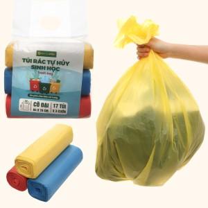 Lốc 3 cuộn túi rác nhiều màu tự huỷ sinh học Bách Hóa XANH 64x78cm (1kg)