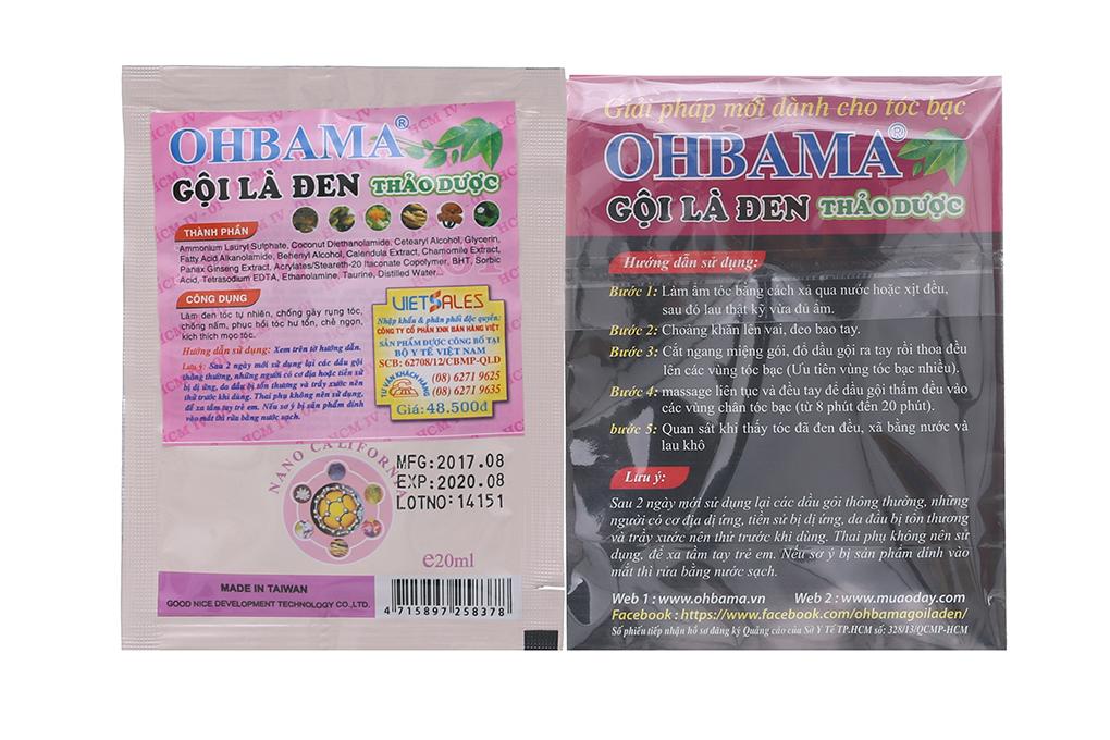 Gội là đen Thảo dược Ohbama 20ml