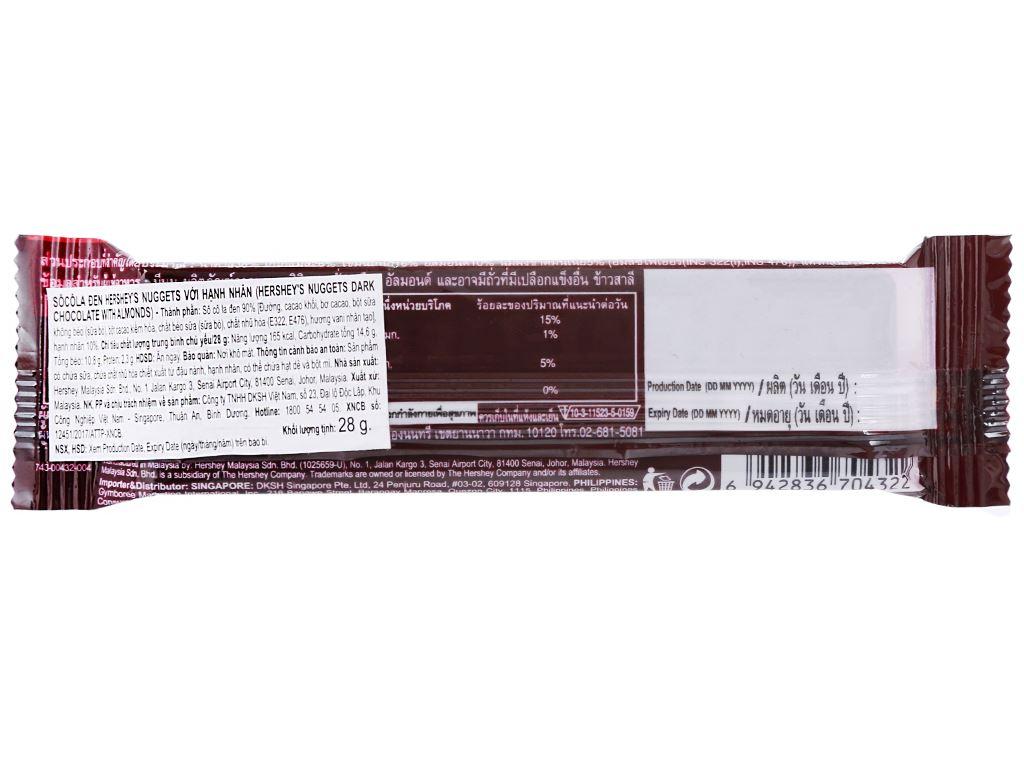Socola đen nhân hạnh nhân Hershey's Nuggets gói 28g 5