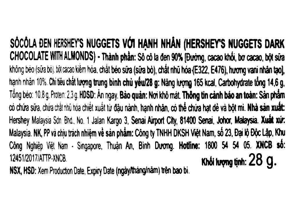 Socola đen nhân hạnh nhân Hershey's Nuggets gói 28g 6