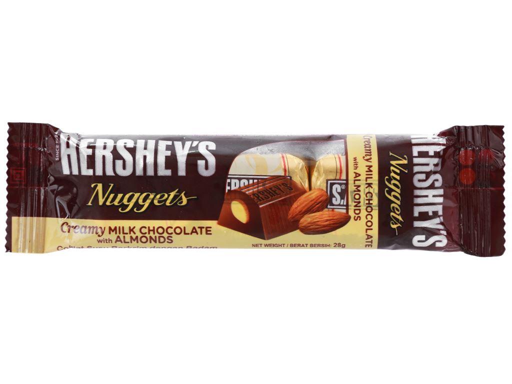 Socola kem sữa nhân hạnh nhân Hershey's Nuggets gói 28g 4