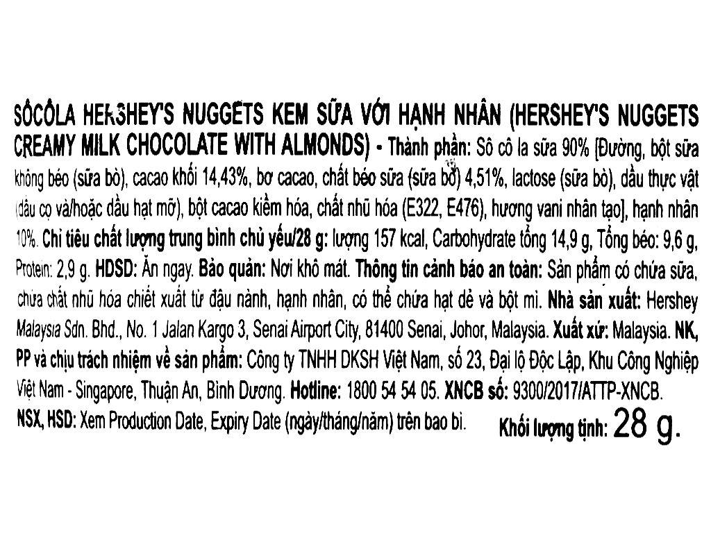 Socola kem sữa nhân hạnh nhân Hershey's Nuggets gói 28g 6