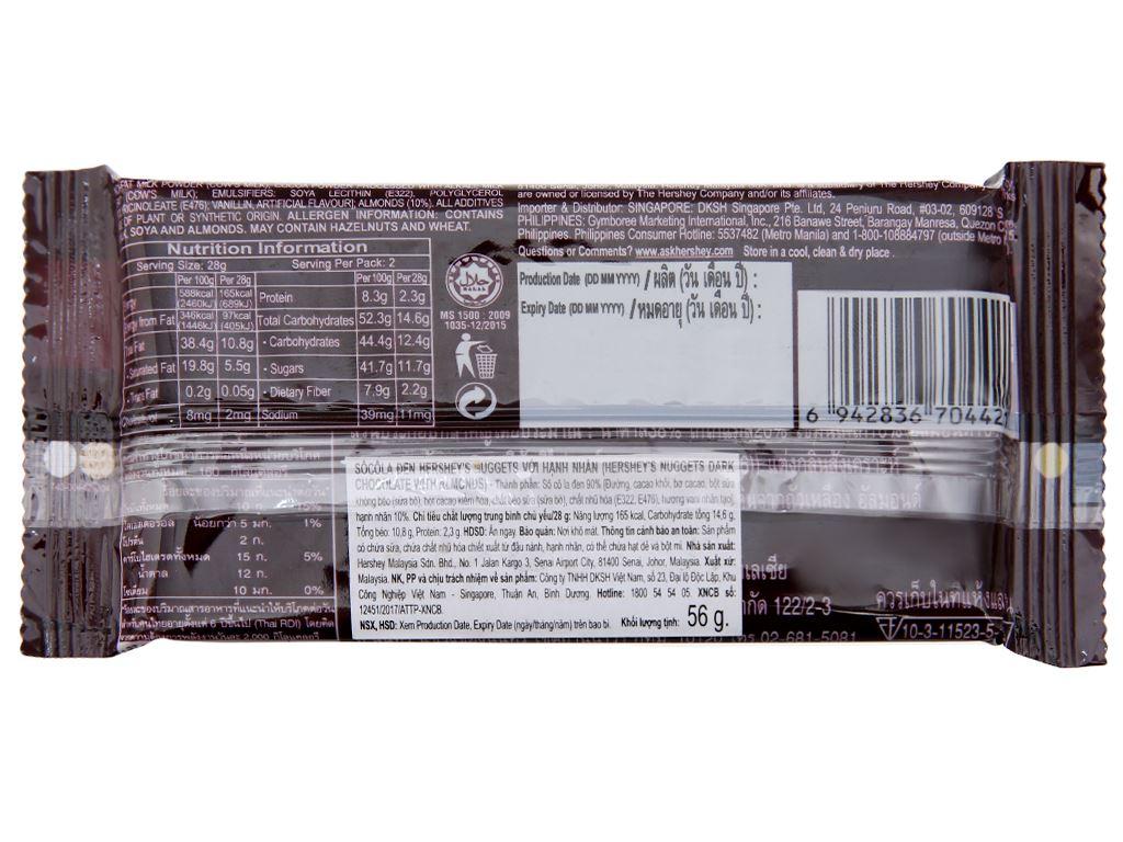 Socola đen Hershey's Nuggets gói 56g 3
