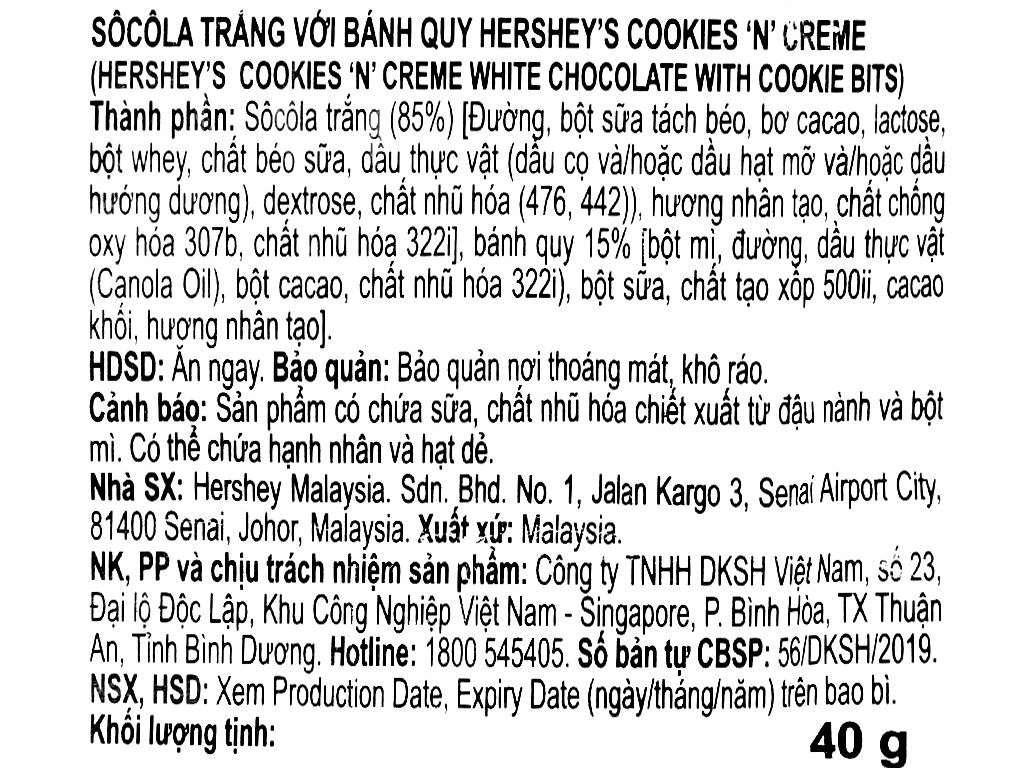 Socola trắng nhân bánh quy Hershey's gói 40g 3