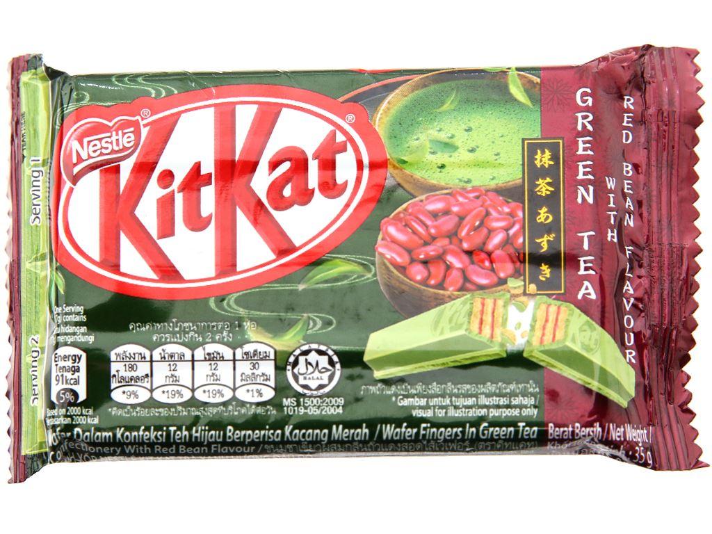 Bánh xốp phủ trà xanh hương đậu đỏ KitKat gói 35g 2