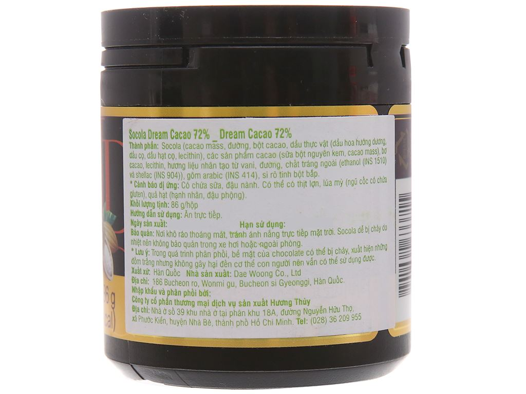 Socola đen Lotte Dream Cacao 72% hộp 86g 2